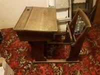 1920's - 30's solid wood (oak) school desk with attached fold down chair