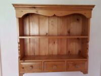 Pine wall plate cabinet with draws