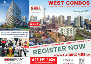 WEST Condo - at King West   REGISTER TODAY - www.GobiHomes.ca