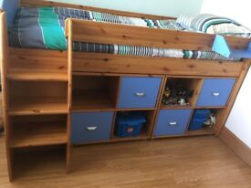 Boys blue and pine stompa bed, units and drawers including shelf Excellent condition must be seen