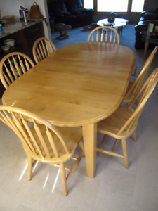 Alder dining room table and 6 chairs bought @ Barewood Furniture