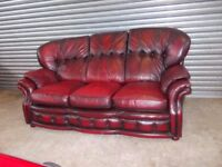 Traditional Oxblood Chesterfield Leather 3-1-1 Suite (Sofa)