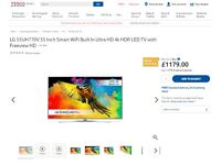 "55"" LG LED Ultra 4K TV + Black High Gloss Stand"
