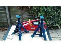 joblot trolley jack motorcycle lift jack pair folding axle stands