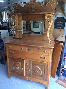 antique buffet and mirror