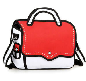 Jump Style 2D Drawing From Cartoon Backpack Bag Comic 3D Red