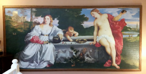 "10' x 5' Oak Framed Famous Puzzle - ""Sacred and Profane Love"""