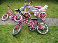 """4 ,KIDS, BIKES,Three are 12"""" Wheels, One is 16"""", Good for spares or simple repairs."""