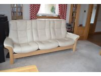 Immaculate brand new condition Stressless 3 Seater High Back Sofa. Cream Leather. Tel 07774 755789