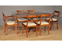 Attractive Large Extending Yew Wood Dining Table & 6 Upholstered Chairs, Carvers