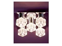 Brand New & Boxed - Square Ceiling Light [Chrome & Glass] REDUCED