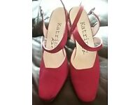 Cherry red satin shoes size 5