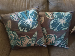 Beautiful Pier 1 pillows with blue,greyand white tones