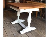 Draw Leaf Extending Dining Table With Painted Shabby Chic Base