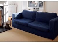 Blue 3 seater sofa with detachable machine washable fabric covers. In great condition.