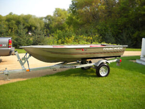 tracker 12 ft boat and galvanized trailer