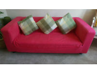 Two Seater Sofa with Cushions & Carpet Protectors