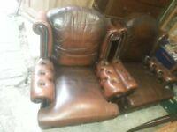 Full leather antique sofa seats