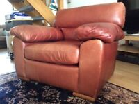 Brown leather, very comfy, Used Marks and Spencer armchair £120
