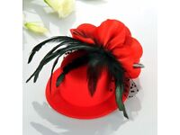 Feather Organza Flower Mini Red Top Hat Hair Alligator Clip Party Fascinator