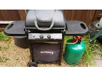 Outback Omega 200 gas BBQ including plastic cover and 13kg gas cylinder (almost full).