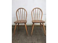 Vintage Ercol Windsor dining kitchen chairs elm and beech