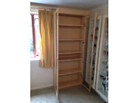 IKEA Billy tall birch veneer bookcase with glass doors