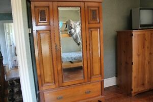 .,Antique Wardrobe $1250, old but like new school desk $40.
