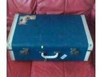 Vintage retro blue pioneer suitcase