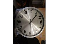 Brushed steel wall clock for sale