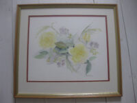 Framed flower painting