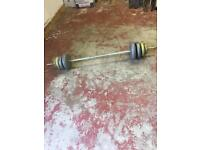 Weight training barbell with weights