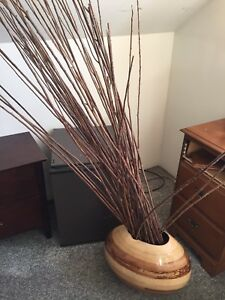 Vintage wood vase with straight branches. I can deliver