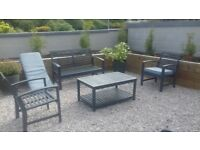 Grey Wooden Garden Set - 1 bench, 2 single chairs & table In excellent condition Can deliver