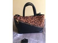Leopard print and black handbag brand new