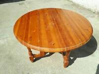 Pine solid wood drop leaf round table