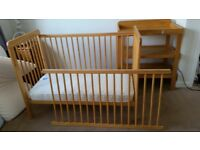 JOHN LEWIS baby cot and changing table wood