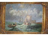 Oil painting in ornate frame - sea, ship, boat
