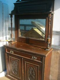 VINTAGE ORNATE MIRROR BACKED SIDEBOARD - CABINET. DETACHABLE TOP. VIEWING/DELIVERY AVAILABLE