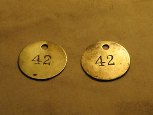 (2) vintage 1940's TOOL CHECK TAGS General Motors Oshawa