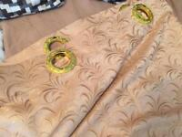 Pair of Curtains Cream / Gold colour Ring top 275cm x 268cm Luxurious NEW
