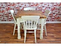Extending Rustic Farmhouse Dining Table Set - Drop Leaf Painted in Farrow & Ball