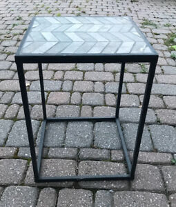 Hamilton EUC Small Solid Steel Metal Base Table With Slate Stone Top