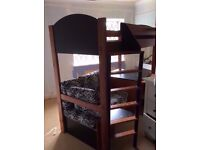 Stompa childrens high bed, bedside table, chest of drawers and wardrobe