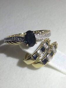 Ladies diamond & sapphire 9kt solid gold hoop earring & ring set