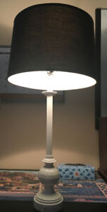 Tall white and black table lamp in great condition.