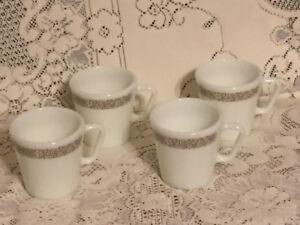 VINTAGE PYREX/CORELLE MUGS - WOODLAND BROWN - WHITE MILK GLASS