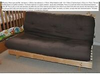 Wood framed double futon bed. Quick sale- £45!