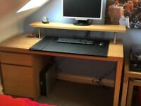 Ikea Malm Oak Desk with Monitor Shelf and Leather Protector