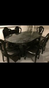 Dining table set x6 chairs total, x2 captain chair